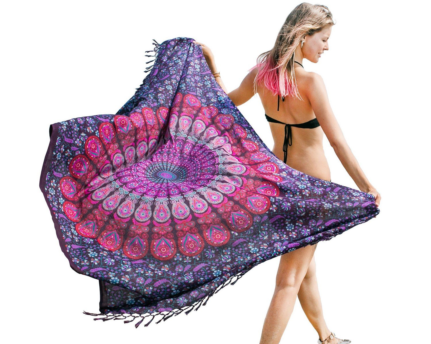 Pareo - Mandala Sarong - Bikini Swimsuit Cover Up- Beach blanket - Wrap - Dress Mandala Life ART ParepPBlue