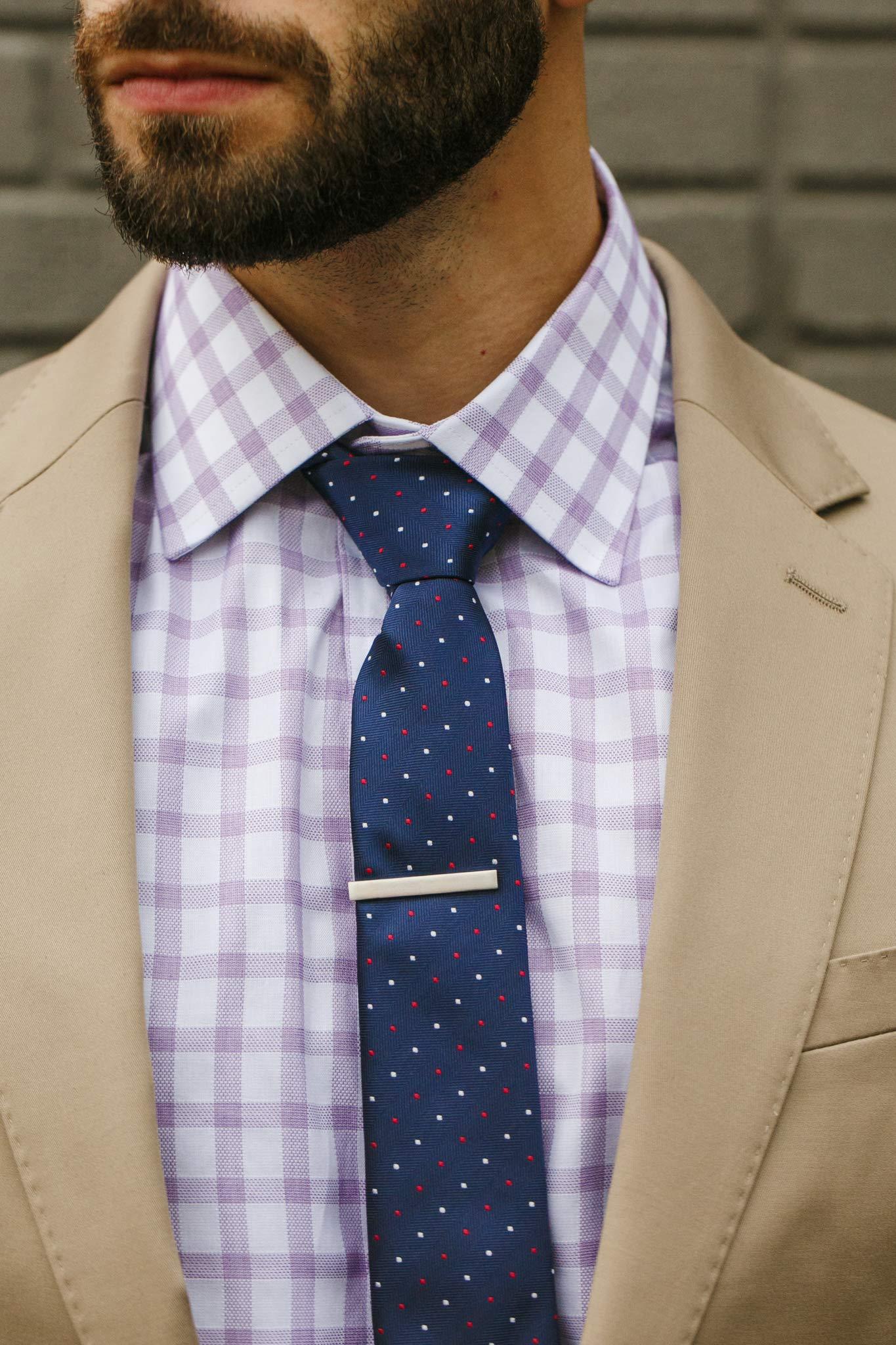 Cueva Bar 4.13 cm Tie Clip, Suiting Tie Clip, Great Gift for Men, Classic Style, Office Look, Wedding Business Necktie Clip, Silver Steel, Unique Design, Everyday Wear, Fashion Necktie Clip by Cueva (Image #7)