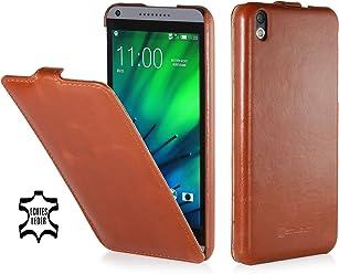 StilGut Housse UltraSlim en cuir pour HTC Desire 816, en cognac
