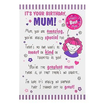 Hallmark Mum Birthday Card Worlds Best Medium Amazon