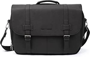 Sweetbriar Classic Laptop Messenger Bag, Black - Vegan Leather Briefcase Designed to Protect Laptops up to 15.6 Inches