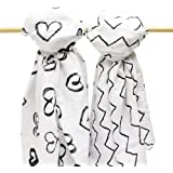 B.B. Swanky Swaddle Blankets 2-Pack by Bodacious Bambino   Soft Baby Muslin Blankets   Swaddling Blankets with Hearts & Zig Zags