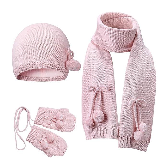 ab10eb98f40 Vivobiniya Baby Hat Scarf Gloves 3pcs Set Toddler Girl Winter Warm Set (0-