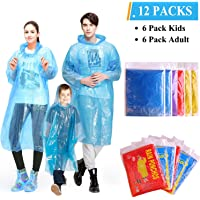 INNOCHEER Emergency Rain Ponchos Family Pack of 12, Disposable poncho for Kids and Adults | Extra Thick 0.03mm| Lightweight| Assorted Colors, Great for Outdoors, Theme Parks, Hiking, Camping,Fishing