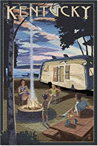 Kentucky - Retro Camper and Lake (Premium 500 Piece Jigsaw Puzzle for Adults, 13x19, Made in USA!)