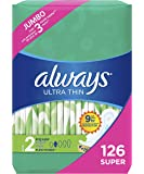 Always Ultra Thin Feminine Pads with Wings for Women, Size 2, Super Absorbency, Unscented, 42 Count - Pack of 3 (126 Count Total)