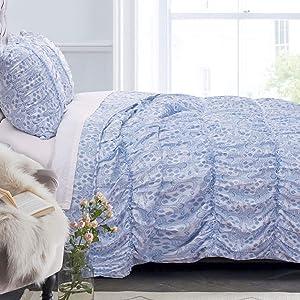 Greenland Home Fashions Helena Ruffle Comforter Set, King, Blue,GL-1810EMSK
