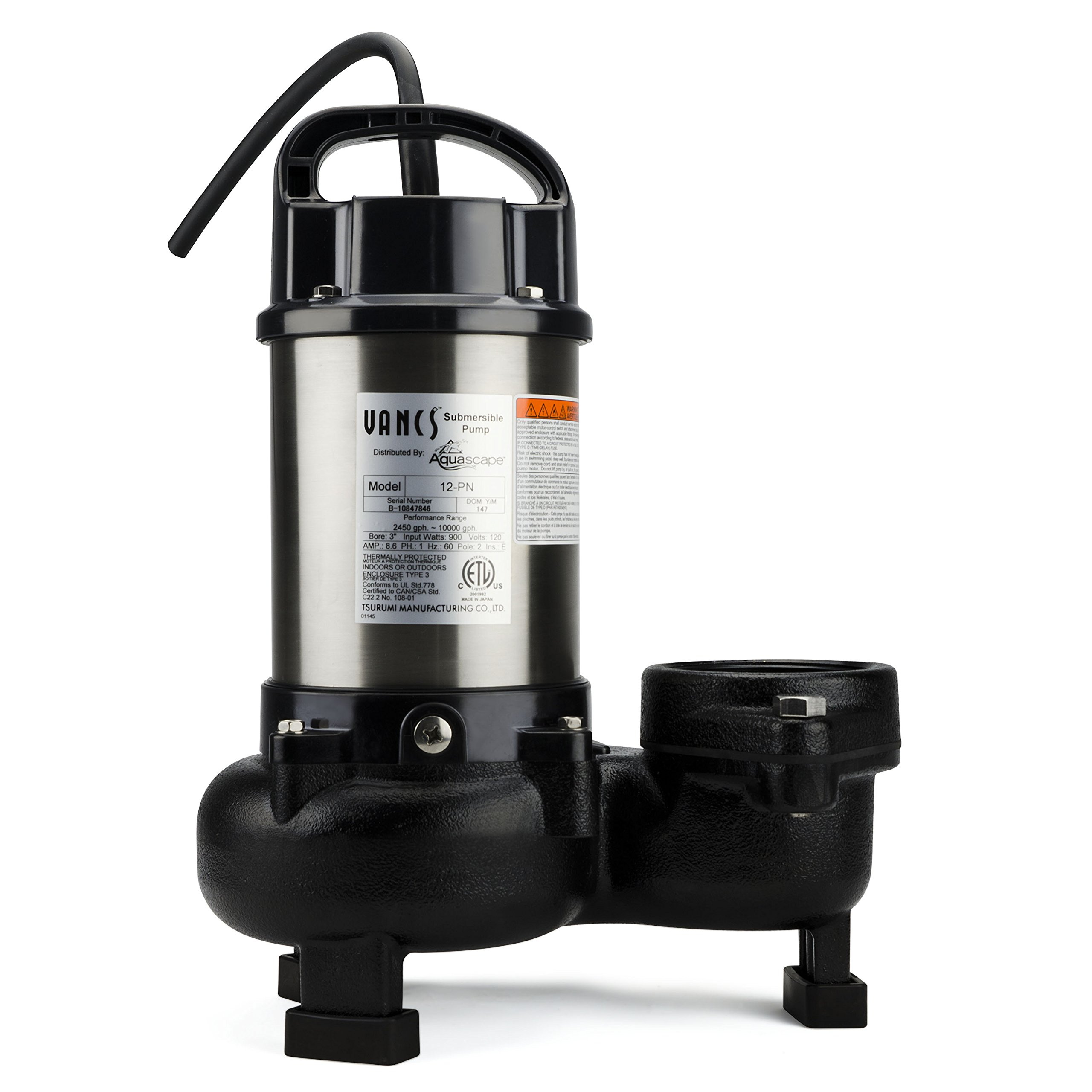 Aquascape 30391 Tsurumi 12PN Submersible Pump for Ponds, Skimmer Filters, and Pondless Waterfalls, 10,000 GPH by Tsurumi (Image #1)