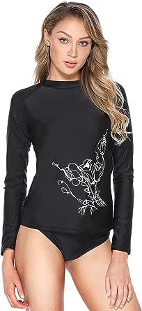 ATTRACO Long Sleeve Shirts Womens Athletic Color Block Print Rashguard UPF 50+