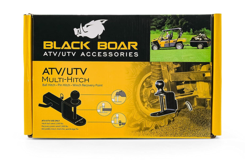2 Ball 1 1//4 Shank Black Boar ATV//UTV Mount with Hitch Winch Strap Loop 66024 Camco