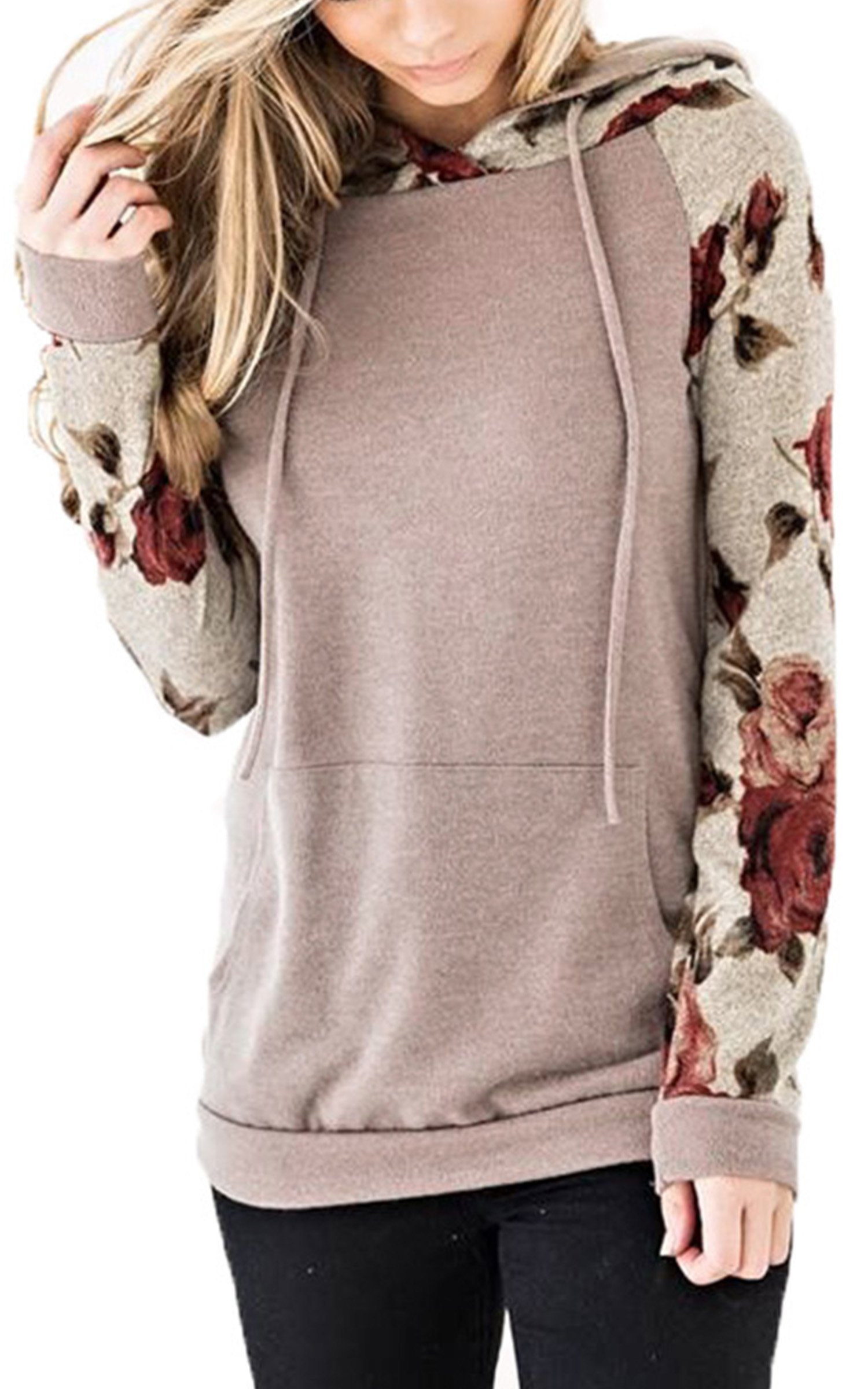 Angashion Women's Floral Printed Long Sleeve Pullover Hoodies Sweatshirt with Pocket Light Caffeine L by Angashion (Image #1)
