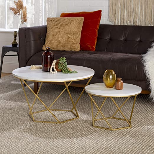 Amazon Com We Furniture Modern Round Nesting Coffee Accent Table