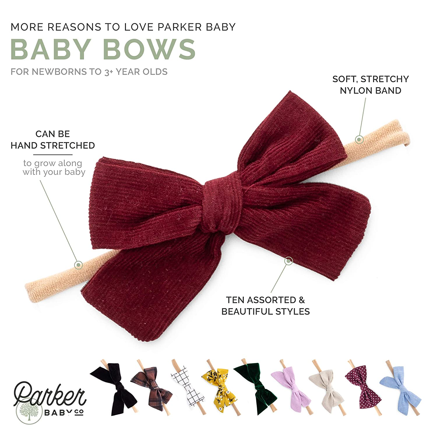 eac758dcf2a7b Parker Baby Girl Headbands and Bows, Assorted 10 Pack of Hair Accessories  for Girls