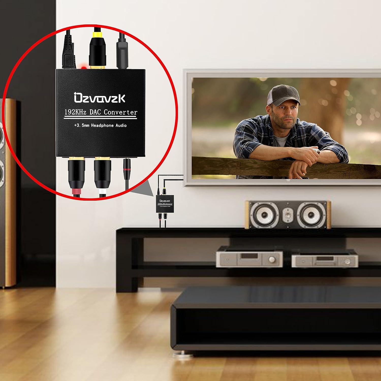 192kHz Digital Analógico Convertidor,Ozvavzk DAC Audio Óptico a Estéreo RCA y Jack 3.5mm Convertidor con Cable Óptico.: Amazon.es: Electrónica