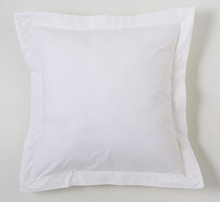 ESTELA - Funda de cojín Combi Lisos Color Blanco - Medidas 55x55+5 cm. - 50% Algodón-50% Poliéster - 144 Hilos - Acabado en pestaña