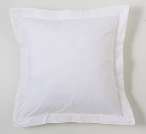 ESTELA - Funda de cojín Combi Liso Cala Color Blanco - Medidas 55x55+5 cm. - 100% Algodón - 144 Hilos - Acabado en pestaña