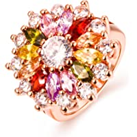 Yellow Chimes Swiss Zircon Multi Color Rose Gold Metal Ring for Women and Girls