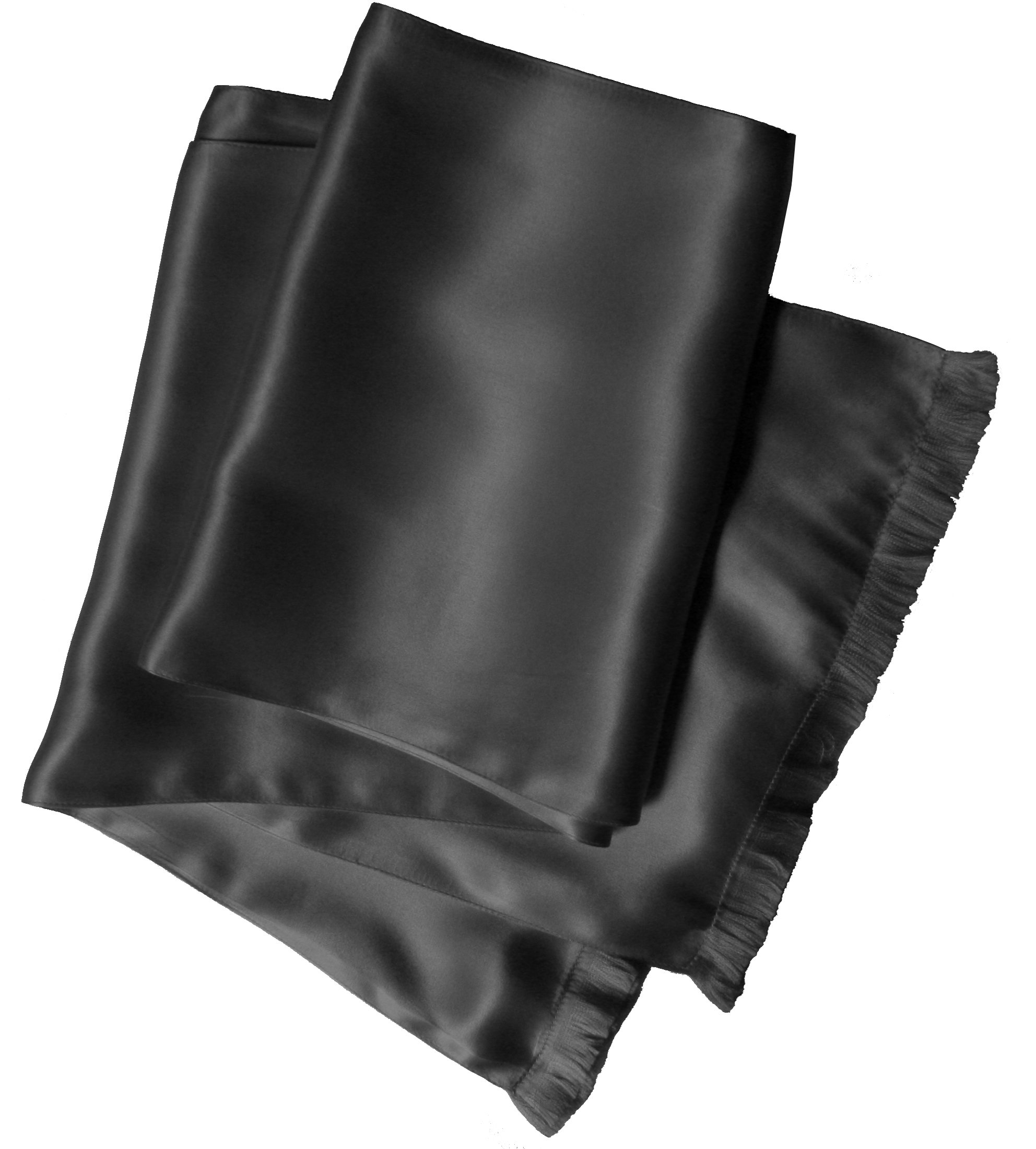 Charcoal Grey Silk Aviator Scarf for Men - Double Layered Satin Silk - Royal Silk