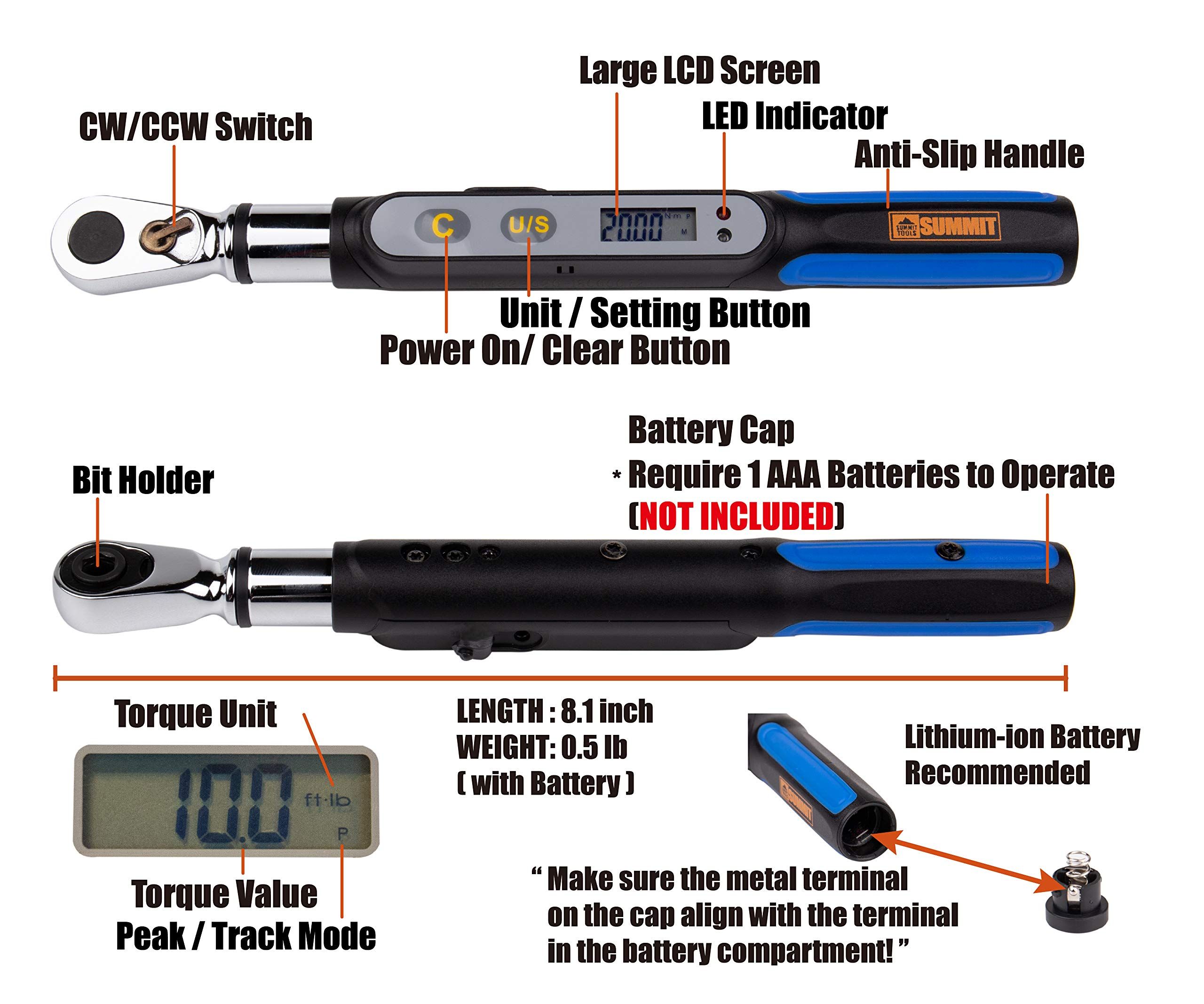 Summit Tools Mini Digital Torque Wrench (BMS2-020CN-S) with Bit Set, Peak Hold, LCD Display, Non Slip Grip, 1/4 in. Drive Adopter. 0.74-14.75 ft-lbs Torque Range, Bike Tool Set with Storage Case by Summit Tools (Image #3)