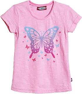 product image for City Threads Girls' Butterfly Jersey Tee (Toddler/Kid) - Bright Pink - 14