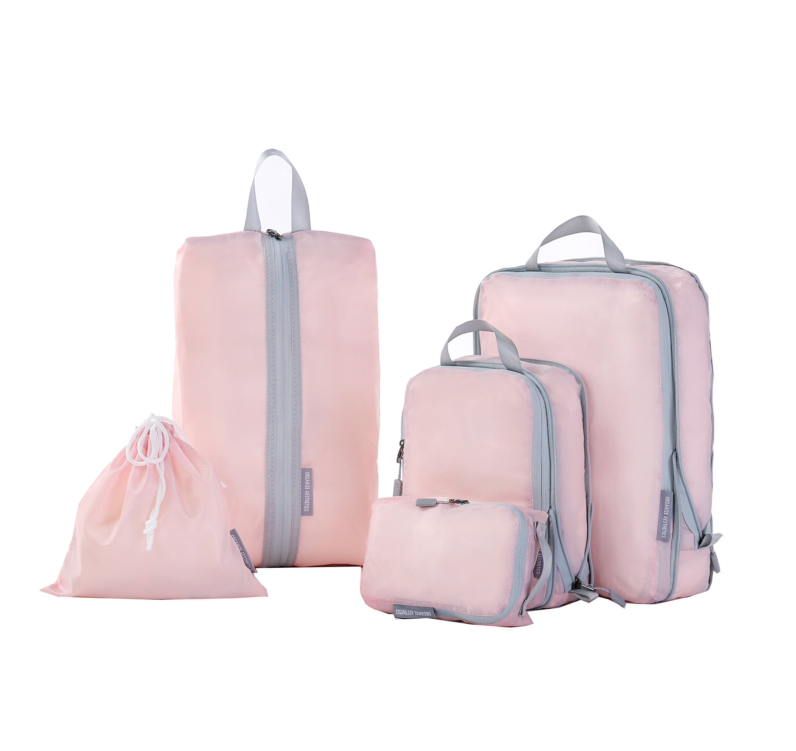 Compression Packing Cubes, JJ POWER Travel Backpack Organizers X-Large 2 Set (Five set- Pink)
