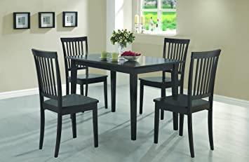 Coaster 5 Piece Dining Set, Table Top With 4 Chairs, Cappuccino Wood