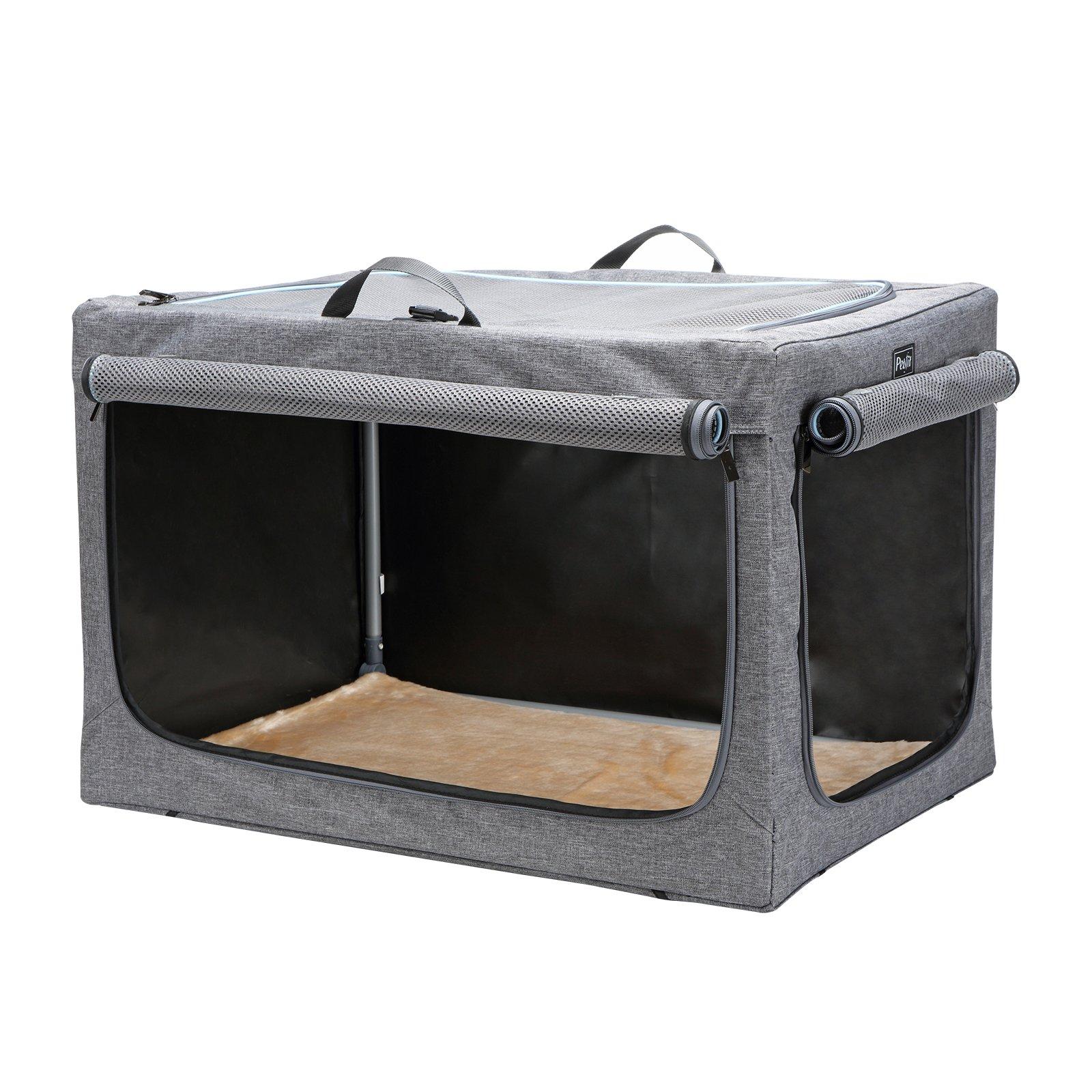Petsfit Portable Soft Large Dog Crate Travle Dog Crate for Medium to Large Dog Soft Sided Pet Crate Grey 36'' LX 24'' WX 23'' H