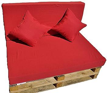 Gbla Colchon y Respaldo de Espuma para Sofá de Palet Enfundado en Tejido Envio 24H(Rojo)
