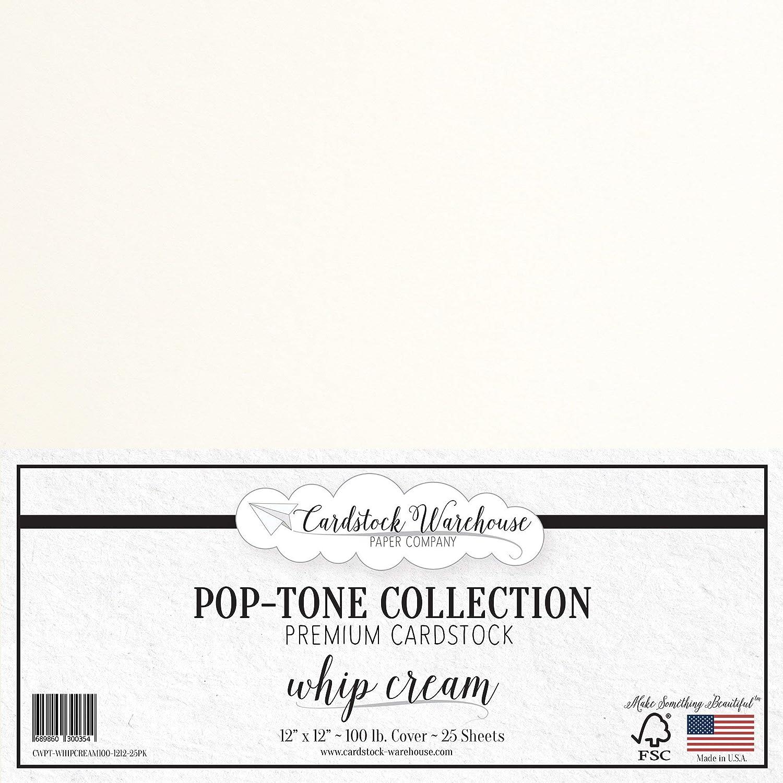 POPTONE 厚紙 - 12 x 12インチ 100ポンド 厚手カバー - Cardstock Warehouse 25枚 オフホワイト CWPT-WHIPCREAM100-1212-25PK. B01LEBS1OK Whip Cream