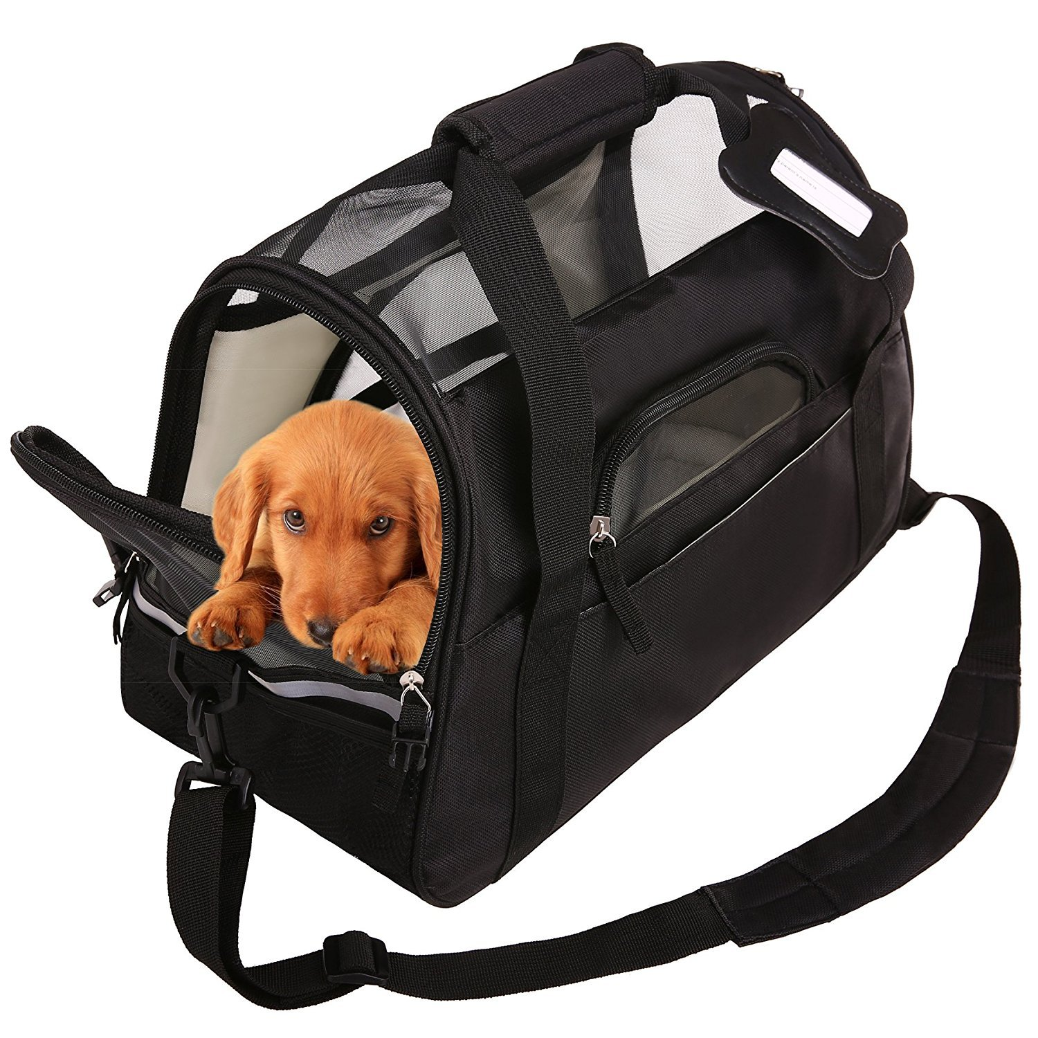 a80777b2345b SAWMONG Portable Pet Carrier Airline Approved Ventilated Comfortable ...