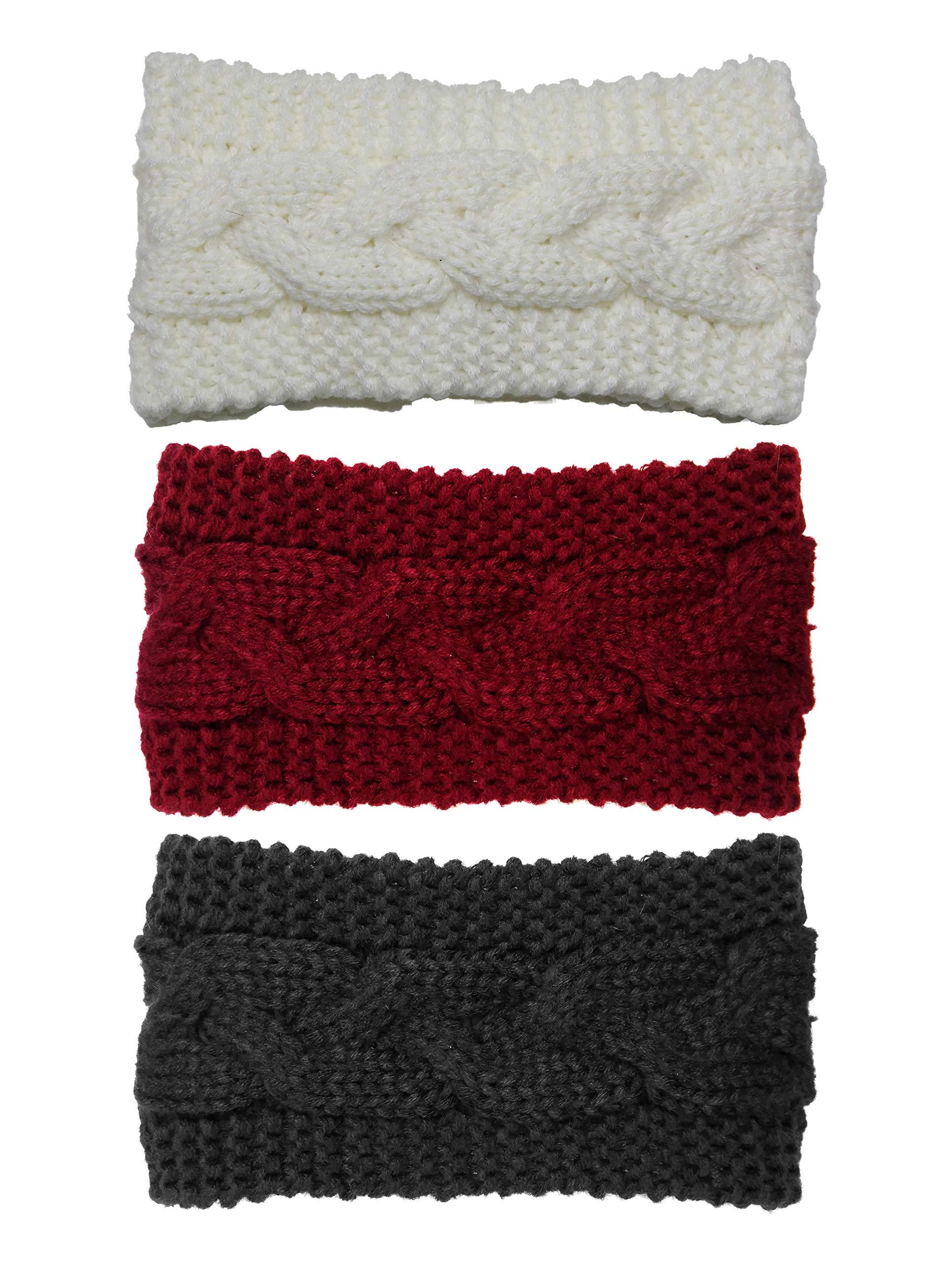Bertelli 3 Pack Womens Winter Knit Headband & Hairband Ear Warmer (Black-white-wine) by Bertelli