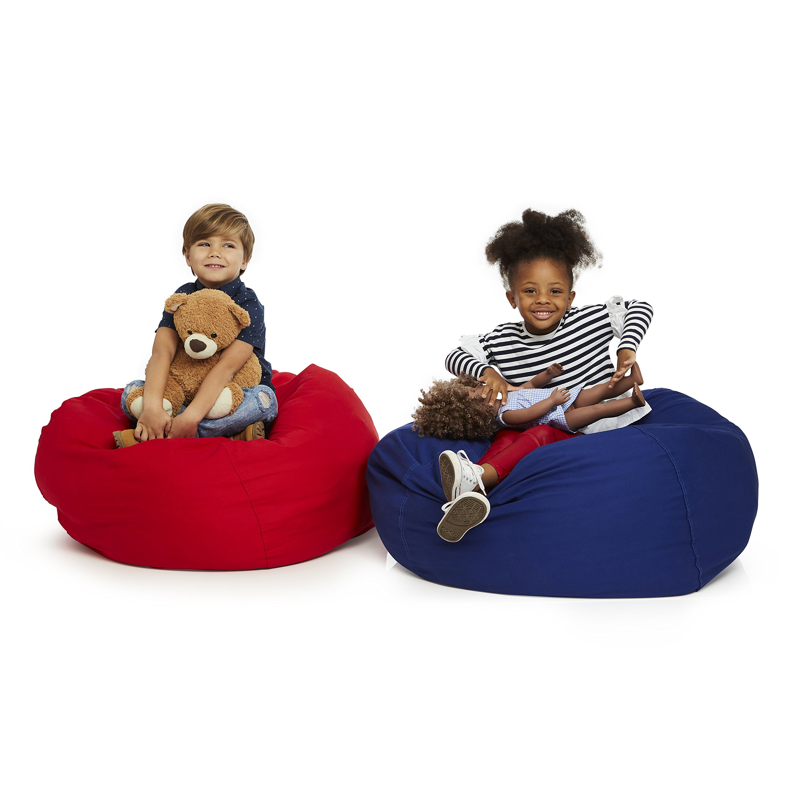 Delmach Stuffed Animal Storage Bean Bag Chair | 38'' Width Extra Large | Premium Double Stitched Cotton Canvas | Kids Blue Bean Bag Cover by Delmach (Image #6)