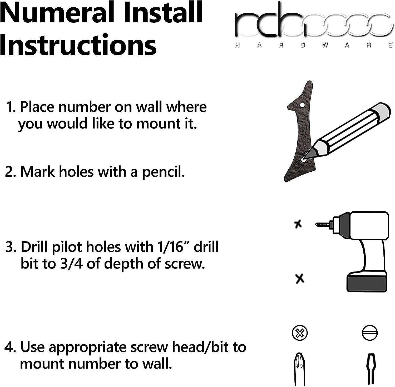 Black 2 Inch RCH Hardware NO-IR530-50 Iron House Number