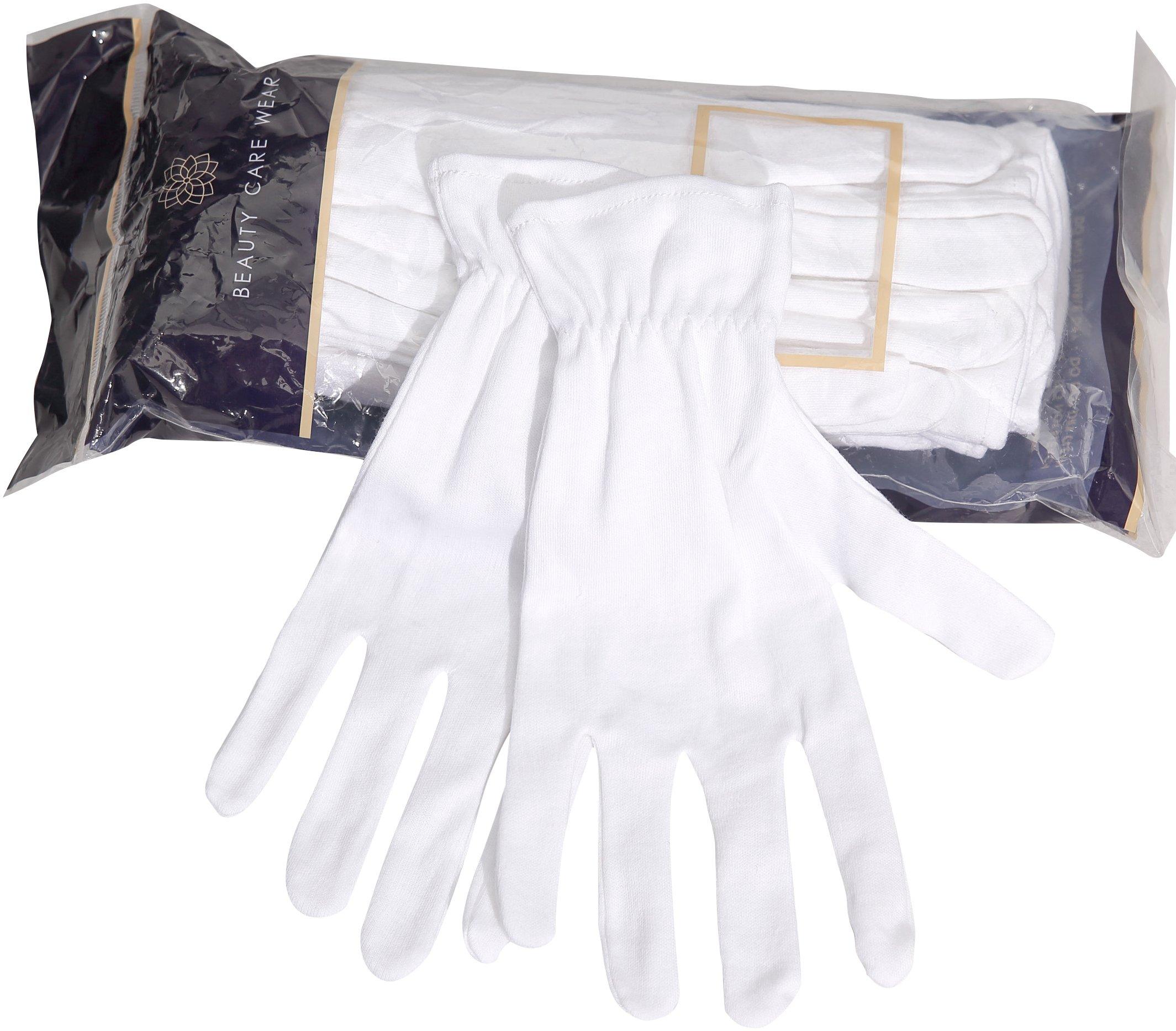 Beauty Care Wear Medium White Cotton Gloves for Eczema, Dry Skin, & Moisturizing - 20 Gloves