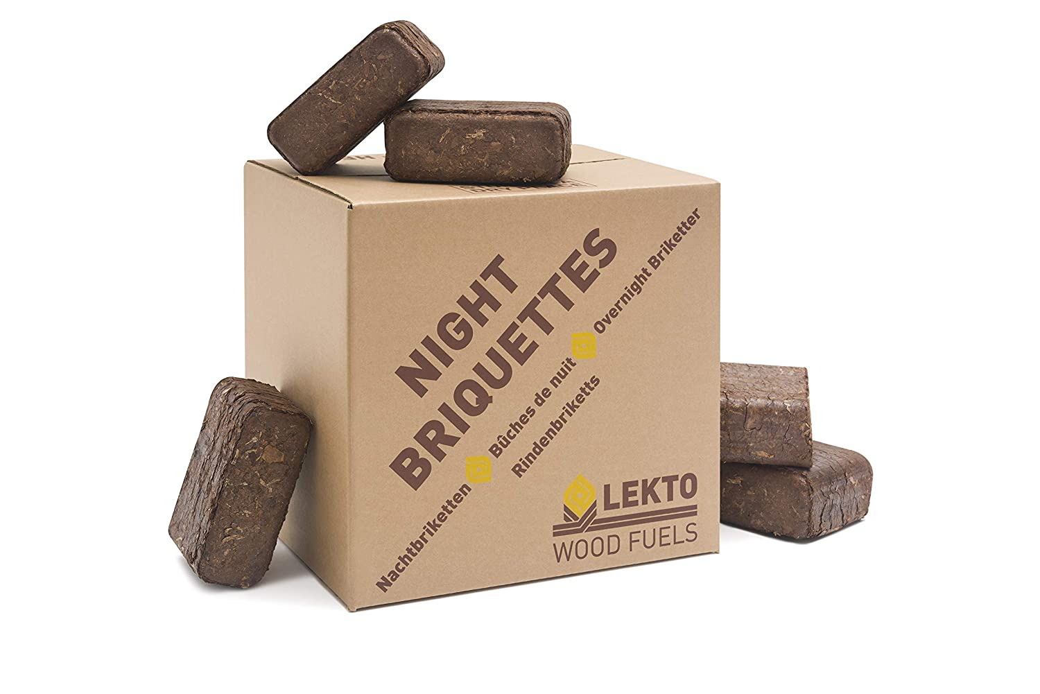 Lekto Night Briquettes 20KG | Long Slow Burn Up To 8 Hours | Overnight / Day Firewood Stove Heat Blocks | Perfect Addition To Traditional Kiln Dried Fire Wood | Multi Fuel Eco Pack Options For Log Burners - Open Fires - Wood Burning Stoves Lekto Wood Fuel