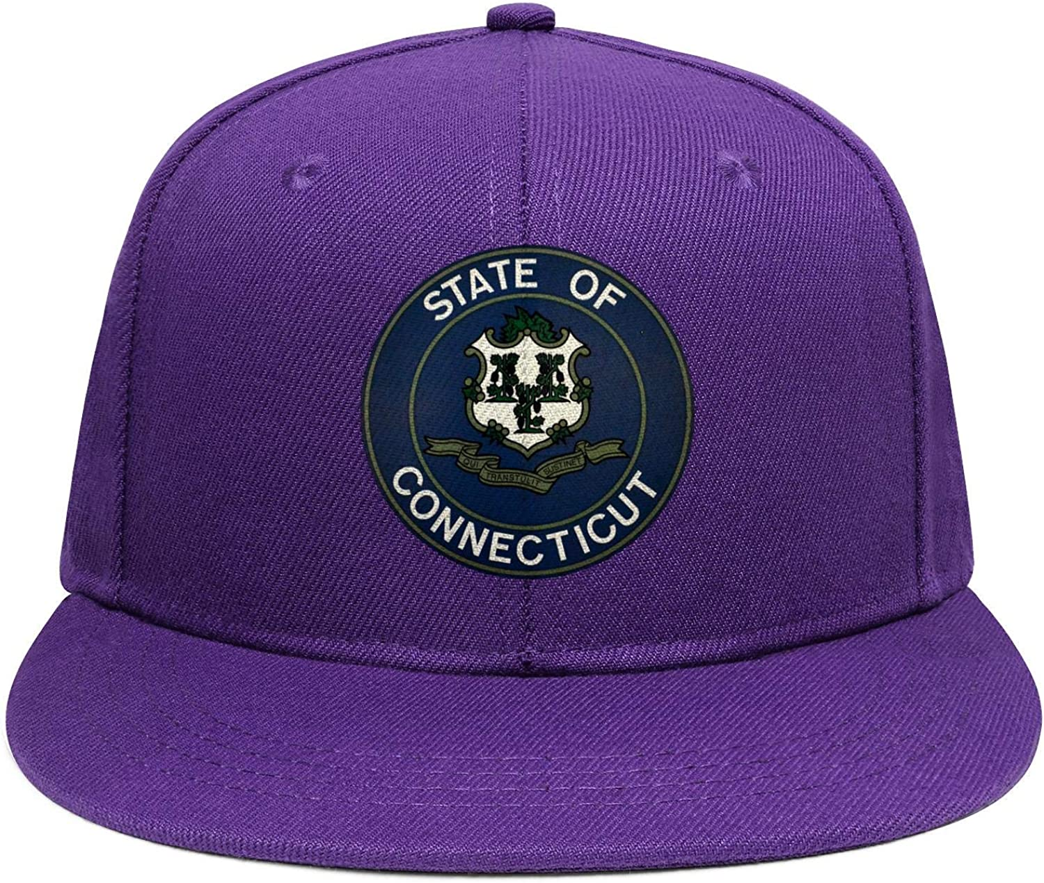 Womens Mens State of Connecticut Seal Cotton Adjustable Flat-Brimmed Hip-Hop Fashion Ball Snapback Hat