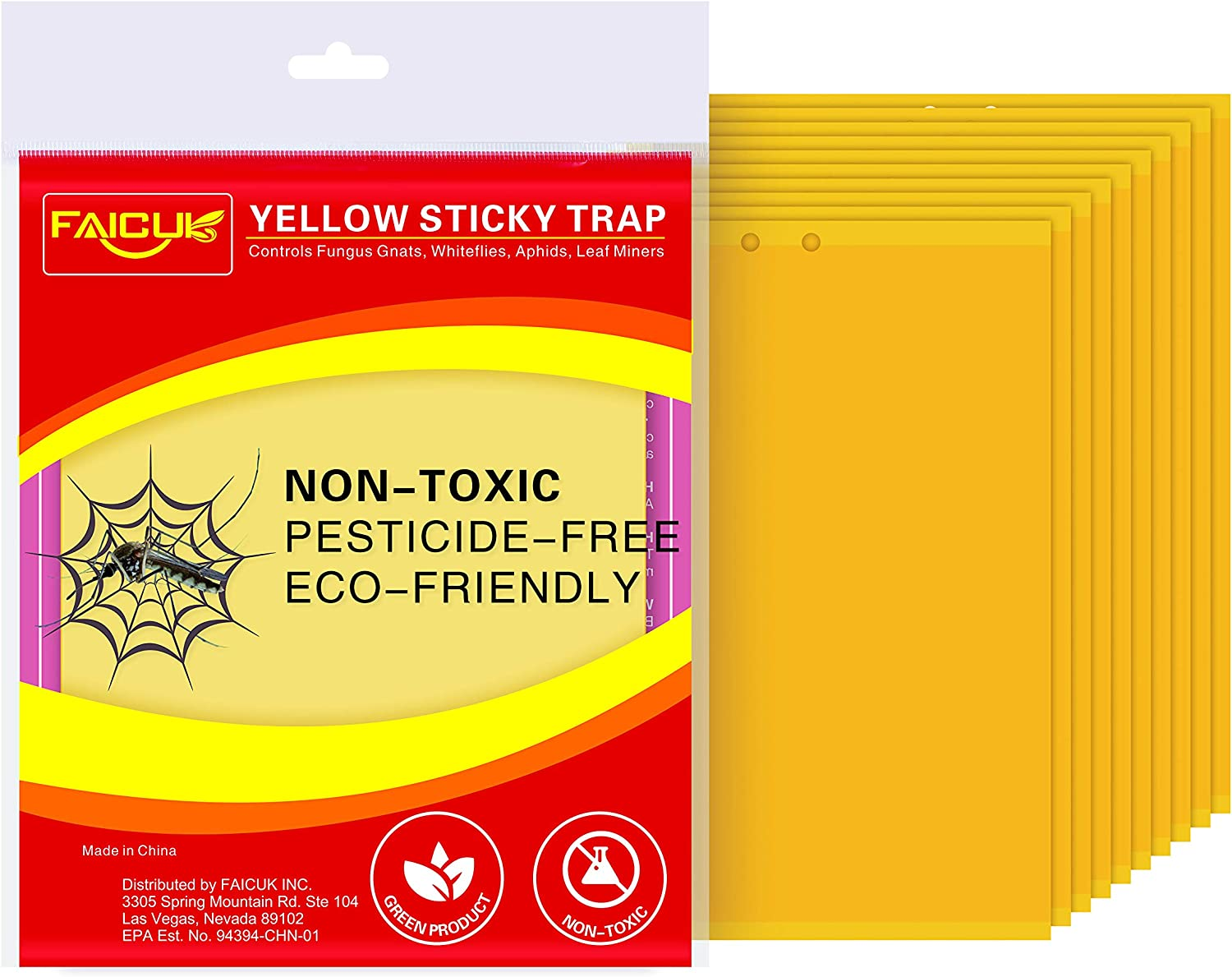 Faicuk Yellow Dual-Sided Sticky Fly Traps for Plant Insect Like Aphids, Fungus Gnats, Leaf Miners and White Flies (10 Pack)