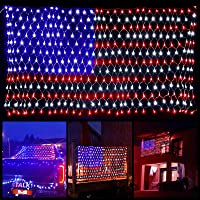 American Flag Lights with 390 Super Bright LEDs and 8 Modes, Waterproof Led Flag Net Light of The United States, Hanging…