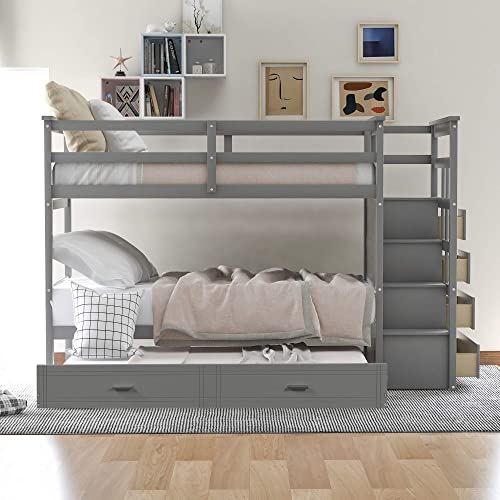 P PURLOVE Twin-Over-Twin Bunk Bed Wood Bunk Bed