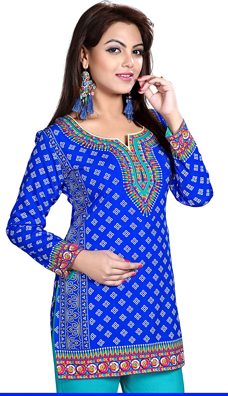 MapleClothing Womens Gedruckte Kurze Kurti Tunika Top Bluse Indische Kleidung