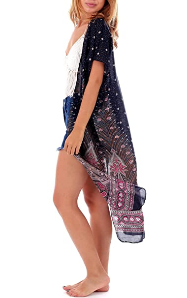 83525ce3d8 One Tribe Apparel Black & Red Womens Boho Kimono Cardigan - Tribal Gypsy  Peacock Shawl &