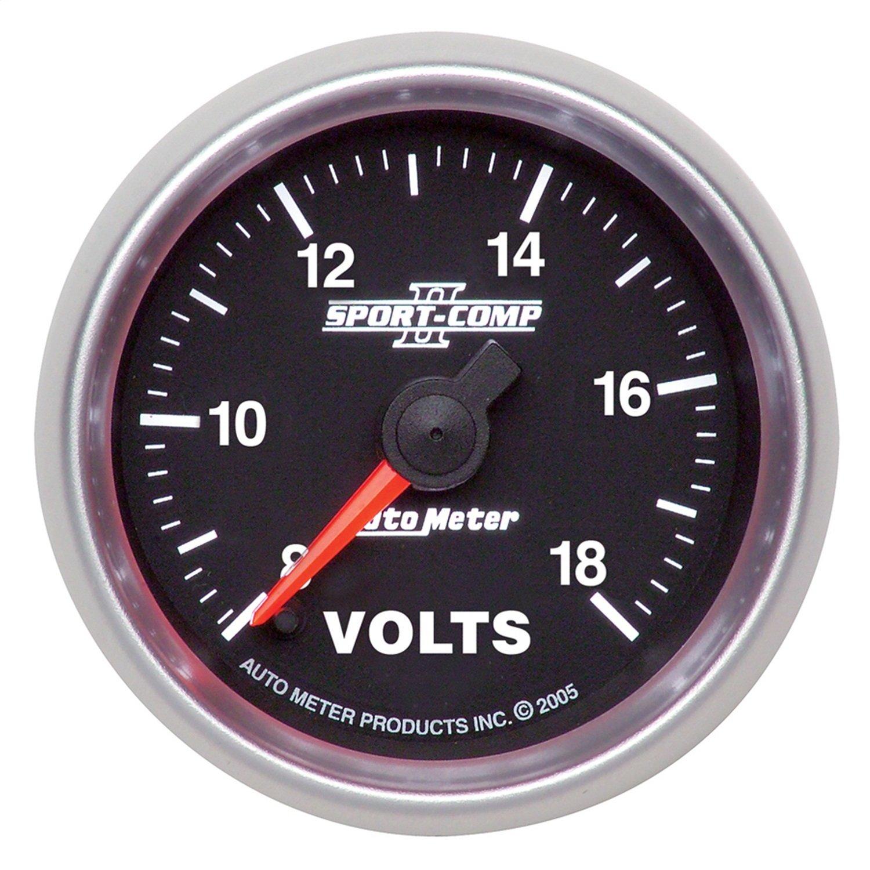 Auto Meter 3691 Sport-Comp II 2-1/16'' 8-18V Full Sweep Electric Voltmeter