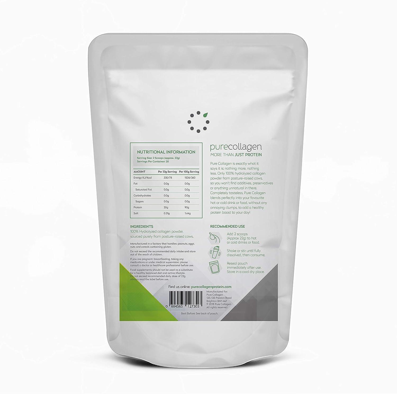 Colágeno puro: 100% polvo de proteína de colágeno hidrolizado de pastos cultivados | Bovino Tipo 1 | Sin sabor, inodoro y se disuelve fácilmente | 20 g de ...