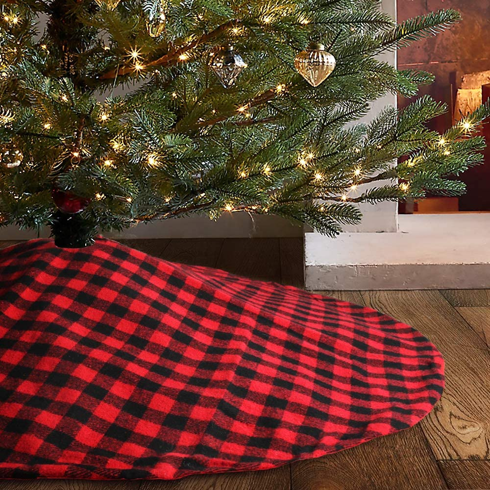 """Meriwoods Buffalo Plaid Cotton 48"""" Tree Skirt, Red and Blcak Check Traditional Christmas Holiday Décor, Farmhouse Ornaments"""