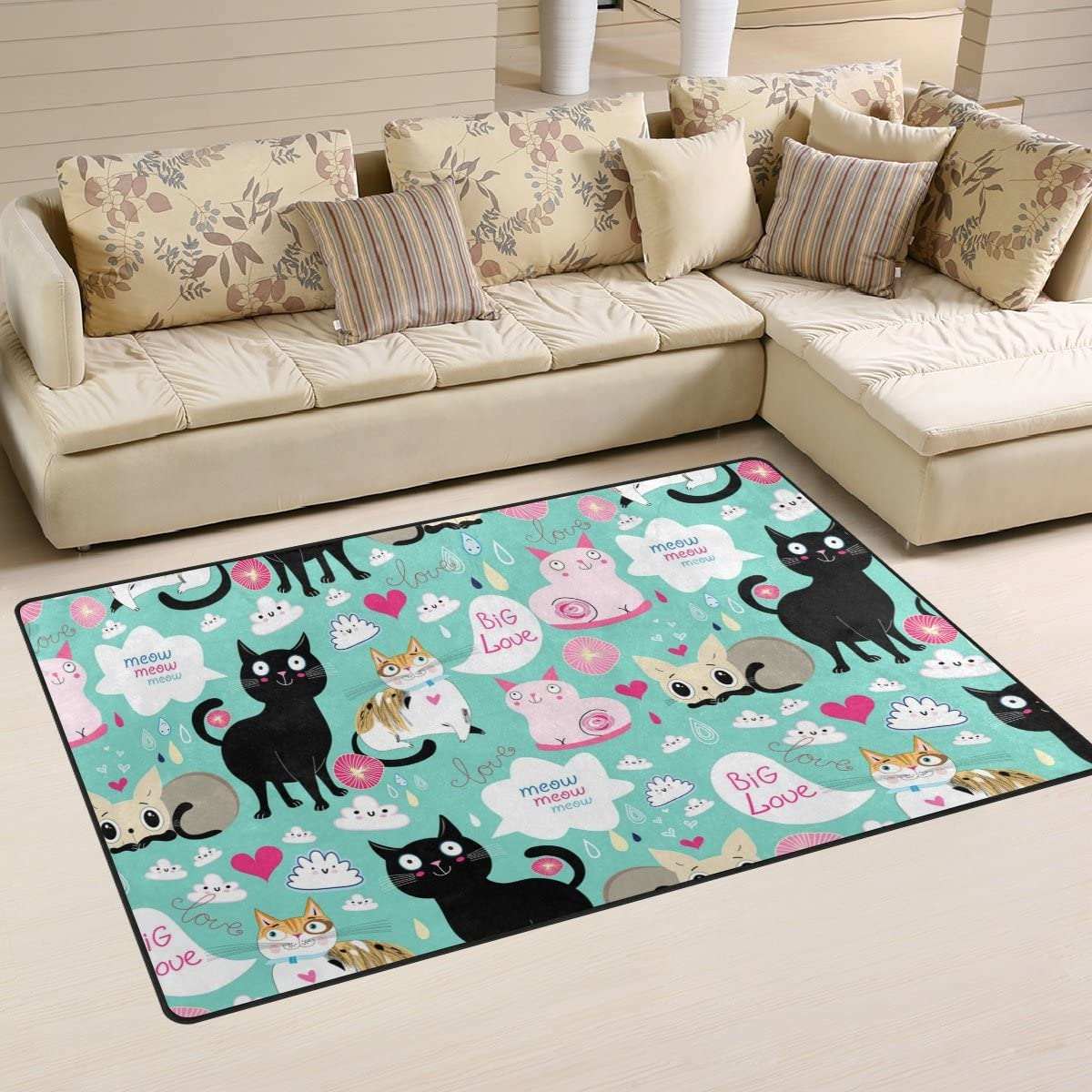 Yochoice Non-slip Area Rugs Home Decor, Vintage Colorful Cute Funny Lovers Cat Floor Mat Living Room Bedroom Carpets Doormats 60 x 39 inches