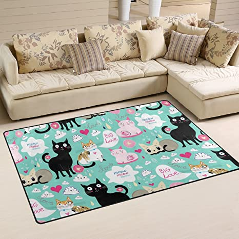 Yochoice Non Slip Area Rugs Home Decor, Vintage Colorful Cute Funny Lovers  Cat Floor