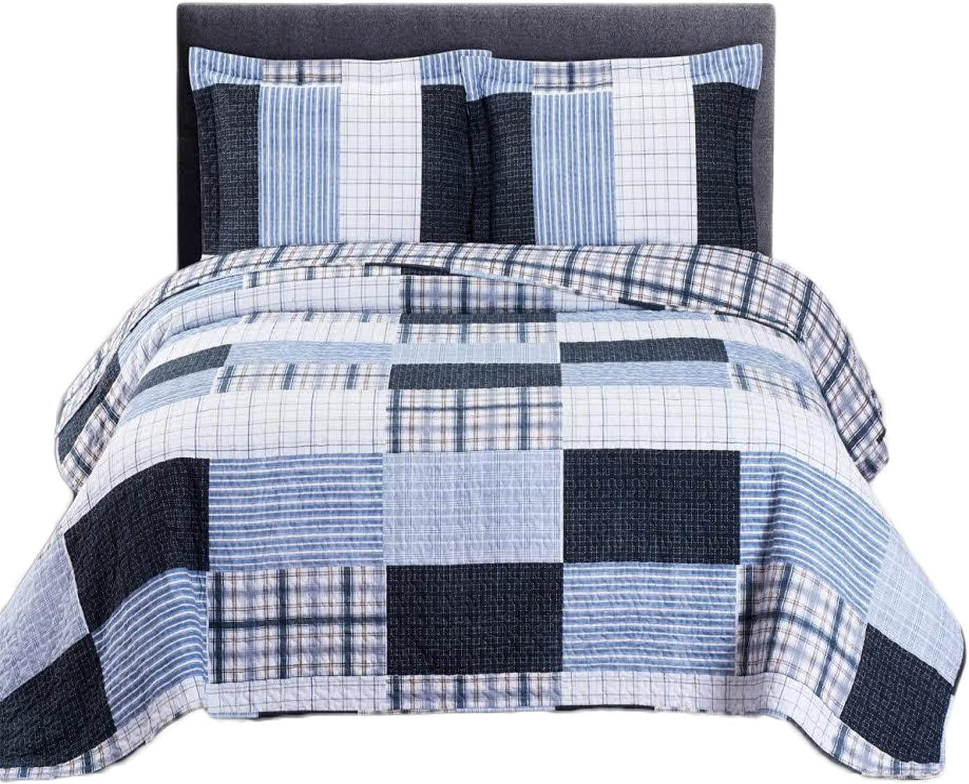 Royal Tradition Printed Patchwork Zoe, Microfiber, Oversized King-California King 3PC Quilt Set, Blue