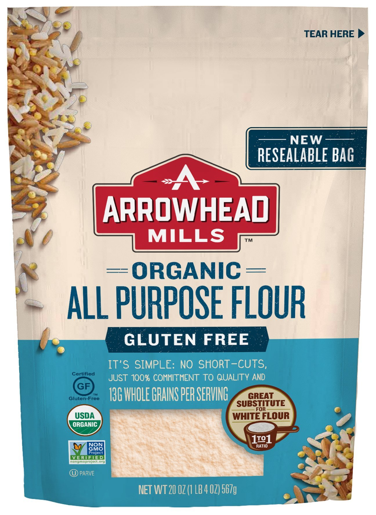 Arrowhead Mills Organic Gluten-Free All-Purpose Flour, 20 oz. Bag (Pack of 6) by Arrowhead Mills