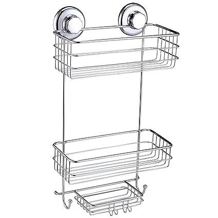 amazon com hasko accessories suction cup shower caddy basket for rh amazon com suction shower storage suction cup shower shelves