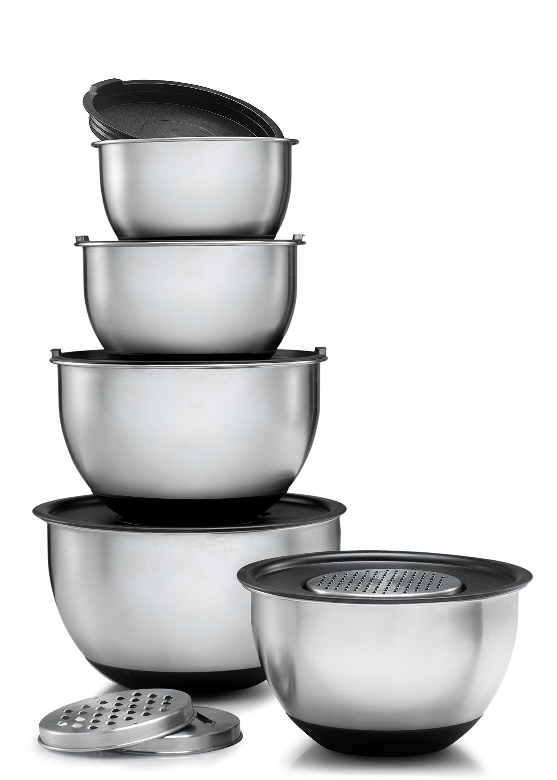 Sagler Stainless Steel Mixing Bowls Set of 5, with Lids and 3 kind of graters by Sagler